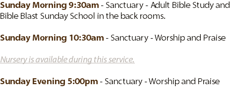 Sunday Morning 9:30am - Sanctuary - Adult Bible Study and Bible Blast Sunday School in the back rooms. 